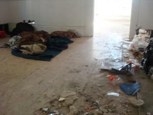One example of the living conditions we find in abandoned buildings
